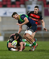 Friday 6th March 2020 | Armagh RFC vs Ballynahinch RFC<br /> <br /> Armagh centre Christopher Colvin  is tackled by Conal Boomer and Robin Harte during the Bank Of Ireland Ulster Senior Cup Final between the City of Armagh RFC and Ballynahinch RFC at Kingspan Stadium, Ravenhill Park, Belfast, Northern Ireland. Photo by John Dickson / DICKSONDIGITAL