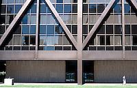 San Francisco:  Base of Alcoa Building, Miesian Purism at its best!   Photo '89.