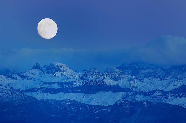 Swiss Alps and full moon, Schwyz, Switzerland
