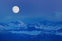 Swiss Alps and full moon, Schwyz, Switzerland