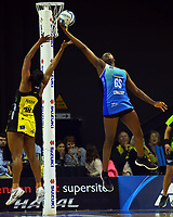 Grace Nweke goes up for the ball during the ANZ Premiership netball match between Central Pulse and Northern Mystics at TSB Bank Arena in Wellington, New Zealand on Sunday, 18 July 2021. Photo: Dave Lintott / lintottphoto.co.nz