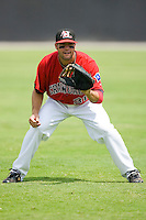 Erik Morrison #31 of the Hickory Crawdads warms up in the outfield prior to taking on the West Virginia Power at L.P. Frans Stadium August 9, 2009 in Hickory, North Carolina. (Photo by Brian Westerholt / Four Seam Images)