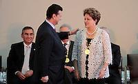 SAO PAULO, SP, 25 DE JANEIRO DE 2012 - ENTREGA MEDALHA 25 DE JANEIRO - Dilma Rousseff recebe homenagem durante cerimonia de entrega da Medalha 25 de Janeiro na sede da Prefeitura de Sao Paulo, na regiao central da capital paulista nessa quarta-feira, 25. FOTO: VANESSA CARVALHO - NEWS FREE.
