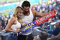 Anchorwoman Diletta Leotta and turkish actor Can Yaman are seen on the tribune during the Uefa Euro 2020 Group stage - Group A football match between Turkey and Italy at stadio Olimpico in Rome (Italy), June 11th, 2021. Photo Andrea Staccioli / Insidefoto
