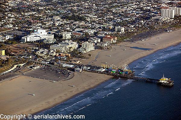 aerial photograph of the Santa Monica Pier, Los Angeles County, California
