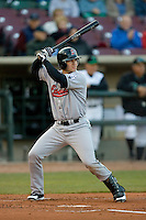 Tony Delmonico #7 of the Great Lakes Loons at bat versus the Dayton Dragons at Fifth Third Field April 22, 2009 in Dayton, Ohio. (Photo by Brian Westerholt / Four Seam Images)