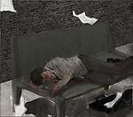Man sleeping on bench depicting unemployment