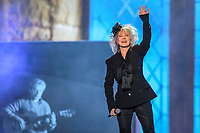 Diane Dufesne performs during the Hommage a Felix Leclerc concert at the Festival d'ete de Quebec on the plains of Abrahams in Quebec City Thursday July 3, 2014.