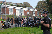 Pictured: Bikers protest outside the Penally Army Centre in west Wales, UK.<br /> Re: There was no consultation with local communities or the Welsh Government over possible plans to house about 250 asylum seekers it has been claimed, at a military base, at Penally, west Wales, UK.<br /> The Penally Army centre in Pembrokeshire is one of several sites being considered by the Home Office.<br /> But the Welsh Government said on social media it had not been approached.