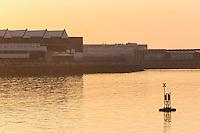 Europe/France/Normandie/Basse-Normandie/50/Manche/Cherbourg: Soleil couchant sur le Port Militaire, Arsenal et les baitiments de la DCNS // France, Manche, Cotentin, Cherbourg,Cherbourg Harbour (French rade de Cherbourg; literally, the roadstead of Cherbourg; the arsenal and DCNS