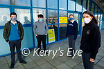 Mercy Mounthawk Leaving Cert students back at school on Monday. Front right: Erica Jones. Back l to r: Kieran McGiveney, James Russell and Emma Savage.