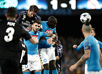 Real Madrid Sergio Ramos, top left, heads to score his second goal during the round of 16 second leg soccer match Champions League between Napoli and Real Madrid at the San Paolo stadium, 7 March 2017. Real Madrid won 3-1 to reach the quarter-finals.<br /> UPDATE IMAGES PRESS/Isabella Bonotto