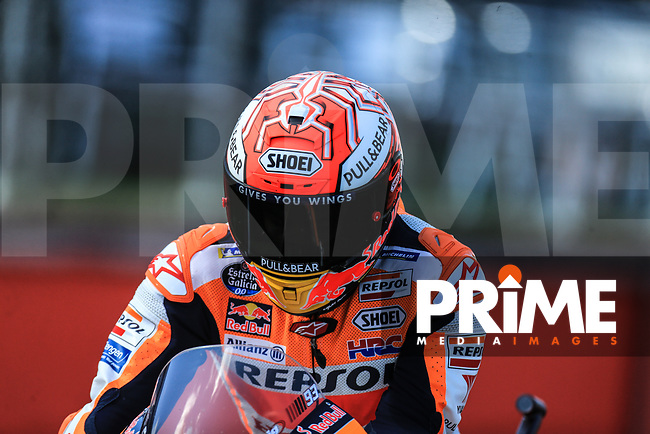 Marc Marquez (93) of the Repsol Honda Team race team during Free Practice 2 at the GoPro British MotoGP at Silverstone Circuit, Towcester, England on 24 August 2018. Photo by Chris Brown / PRiME Media Images