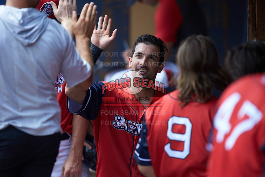 Keith Curcio (18) of the San Bernardos de Salem high fives teammates after scoring a run during the game against the Winston-Salem Dash at Haley Toyota Field on June 30, 2019 in Salem, Virginia. The Dash defeated the San Bernardos 3-2. (Brian Westerholt/Four Seam Images)