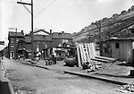 Pittsburgh PA: The Penn Avenue and 17th Street Incline near Shantytown.  During the depression, the area from the PA RR Station to the 17th street bridge was called Shantytown.  Father Cox, a local priest, helped the residents through food kitchens and highlighting their plight.  Brady Stewart photographed the area for the City of Pittsburgh.