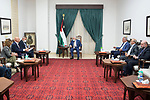 Palestinian president Mahmoud Abbas meets with Israeli Minister of Health Nitzan Horowitz and Minister of Regional Cooperation Issawi Freij, in the West Bank city of Ramallah on October 3, 2021. Photo by Thaer Ganaim