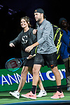March 05, 2018: Jack Sock (USA) and Savannah Guthrie walk out to play Roger Federer (SUI) and Bill Gates at The Match for Africa 5 Silicon Valley played at the SAP Center in San Jose, California. ©Mal Taam/TennisClix