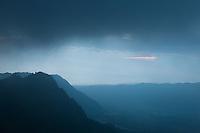 View of mountains from Lava View Lodge, Cemoro Lawang, Sukapura Bromo, Probolinggo, Jawa Timur, Indonesia, Southeast Asia