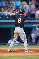 Brett Phillips (8) of the Quad Cities River Bandits at bat against the Bowling Green Hot Rods at Bowling Green Ballpark on July 26, 2014 in Bowling Green, Kentucky.  The River Bandits defeated the Hot Rods 9-2.  (Brian Westerholt/Four Seam Images)