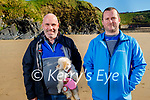 Taking the Broome the dog for a walk is Kieran Leahy and David Hayes on Ballybunion beach on Sunday.