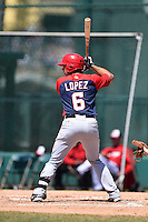 Washington Nationals infielder Carlos Lopez (6) during a minor league spring training game against the Atlanta Braves on March 26, 2014 at Wide World of Sports in Orlando, Florida.  (Mike Janes/Four Seam Images)