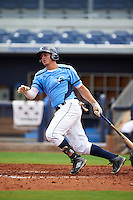 Charlotte Stone Crabs shortstop Willy Adames (2) at bat during a game against the Dunedin Blue Jays on July 26, 2015 at Charlotte Sports Park in Port Charlotte, Florida.  Charlotte defeated Dunedin 2-1 in ten innings.  (Mike Janes/Four Seam Images)