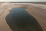 Aerial - Tirari Desert with water in the normally dry lakes. Tirari Desert is the smallest desert in the outback
