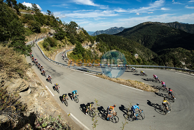The peloton descend Col de Turini during Stage 2 of Tour de France 2020, running 186km from Nice Haut Pays to Nice, France. 30th August 2020.<br /> Picture: ASO/Alex Broadway | Cyclefile<br /> All photos usage must carry mandatory copyright credit (© Cyclefile | ASO/Alex Broadway)