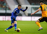 7th February 2021; Molineux Stadium, Wolverhampton, West Midlands, England; English Premier League Football, Wolverhampton Wanderers versus Leicester City; Jamie Vardy of Leicester City tries to create space on the edge of the box