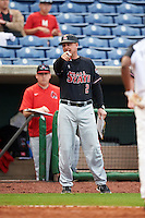 Ball State Cardinals head coach Rich Maloney (2) during a game against the Alabama State Hornets on February 18, 2017 at Spectrum Field in Clearwater, Florida.  Ball State defeated Alabama State 3-2.  (Mike Janes/Four Seam Images)