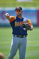 Jacob Wilson (4) of the Las Vegas Aviators before the game against the Salt Lake Bees at Smith's Ballpark on June 27, 2021 in Salt Lake City, Utah. The Aviators defeated the Bees 5-3. (Stephen Smith/Four Seam Images)