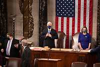 Speaker of the House Nancy Pelosi, D-CA, and Vice President Mike Pence look on before a joint session of the House and Senate convenes to count the Electoral College votes cast in November's election, at the Capitol in Washington, Wednesday, Jan. 6, 2021.<br /> Credit: Graeme Jennings / Pool via CNP/AdMedia
