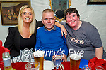 Enjoying the evening in Cassidys on Saturday, l to r: Niamh Casey, Willie Sexton and Martin Griffin all from Tralee