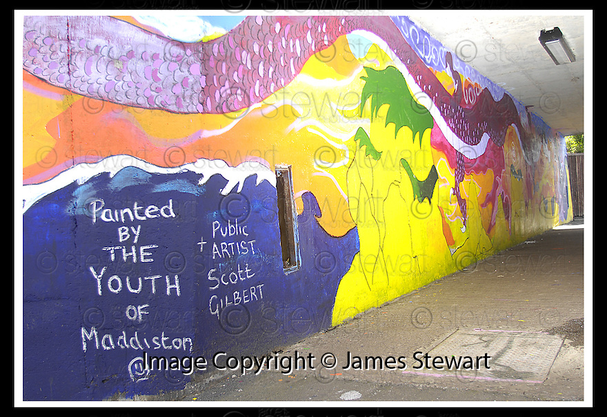 29/08/2007       Copyright Pic: James Stewart.File Name : 09_underpass.THE UNDERPASS IN MADDISTON PAINTED BY LOCALS....James Stewart Photo Agency 19 Carronlea Drive, Falkirk. FK2 8DN      Vat Reg No. 607 6932 25.Office     : +44 (0)1324 570906     .Mobile   : +44 (0)7721 416997.Fax         : +44 (0)1324 570906.E-mail  :  jim@jspa.co.uk.If you require further information then contact Jim Stewart on any of the numbers above........
