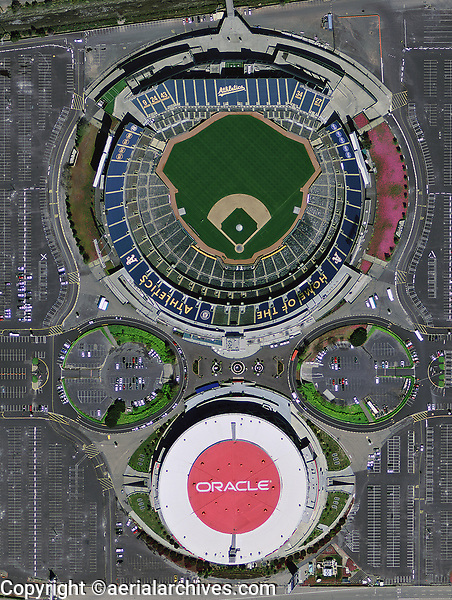 aerial photograph Oakland coliseum and Oracle arena, Oakland, California