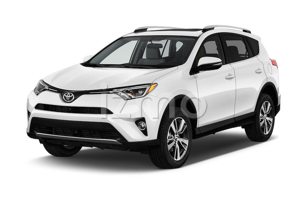 2018 Toyota RAV4 XLE 5 Door SUV Angular Front stock photos of front three quarter view