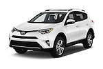 2018 Toyota RAV4 XLE 5 Door SUV Angular Front stock photos of front three quarter view