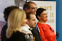 Pictured: Tonia Antoniazzi (R) is announced as the winner of the Gower seat for the Labour party. Friday 13 December 2019<br /> Re: Ballots count at the Leisure Centre in Swansea, Wales, UK.