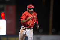 AZL Angels left fielder Johan Sala (5) hustles to third base during an Arizona League game against the AZL Diamondbacks at Tempe Diablo Stadium on June 27, 2018 in Tempe, Arizona. The AZL Angels defeated the AZL Diamondbacks 5-3. (Zachary Lucy/Four Seam Images)