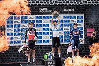 podium:<br /> <br /> 1st place:  Sonny Colbrelli (ITA/Bahrain-Victorius)<br /> 2nd place: Florian Vermeersch (BEL/Lotto Soudal)<br /> 3th place: Mathieu van der Poel (NED/Alpecin Fenix)<br /> <br /> 118th Paris-Roubaix 2021 (1.UWT)<br /> One day race from Compiègne to Roubaix (FRA) (257.7km)<br /> <br /> ©kramon