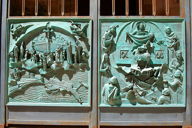 Bas reliefs with christian scanes of Jesus's life. on the San Lorenzo cathedral, Trapani, Sicily