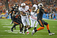 STANFORD, CA - January 2, 2012: Stanford running back Jeremy Stewart (34) on his touchdown run against Oklahoma State at the Fiesta Bowl at University of Phoenix Stadium in Phoenix, AZ. Final score Oklahoma State wins 41-38.