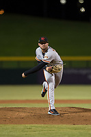 Scottsdale Scorpions starting pitcher Garrett Williams (39), of the San Francisco Giants organization, follows through on his delivery during an Arizona Fall League game against the Mesa Solar Sox at Sloan Park on October 10, 2018 in Mesa, Arizona. Scottsdale defeated Mesa 10-3. (Zachary Lucy/Four Seam Images)