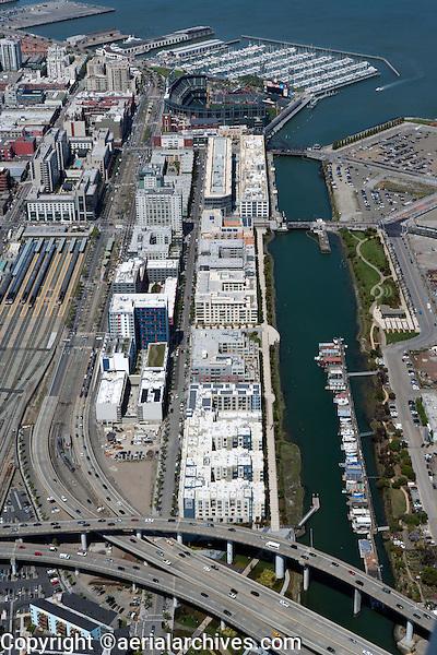 aerial photograph China Basin South Beach Caltrain Station San Francisco, California