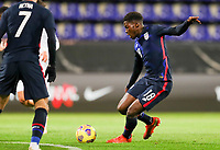 WIENER NEUSTADT, AUSTRIA - NOVEMBER 16: Yunus Musah #18 of the United States takes a shot during a game between Panama and USMNT at Stadion Wiener Neustadt on November 16, 2020 in Wiener Neustadt, Austria.