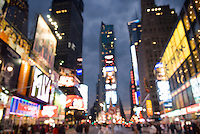 AVAILABLE FOR COMMERCIAL AND EDITORIAL LICENSING FROM CORBIS.  Please go to www.corbis.com and search for image # 42-19641625.<br /> <br /> Defocused/Soft Focus view of Times Square on an Overcast Night<br /> <br /> Midtown Manhattan, New York City, New York State, USA