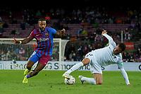20th September 2021; Nou Camp, Barcelona, Spain; La Liga football league;  FC Barcelona versus Granada;   Menphys Depay see the ball recovered by Quini of Granada