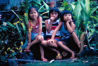 Local children, two brothers and sister, in a lush green outdoor garden on Oahu.