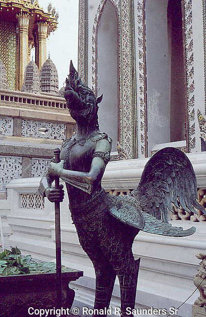 In Buddhist mythology and Hindu mythology, a kinnara is a paradigmatic lover, a celestial musician, half-human and half-horse (India) or half-bird (south-east Asia). Their character is clarified in the Adi parva of the Mahabharata, where they say: