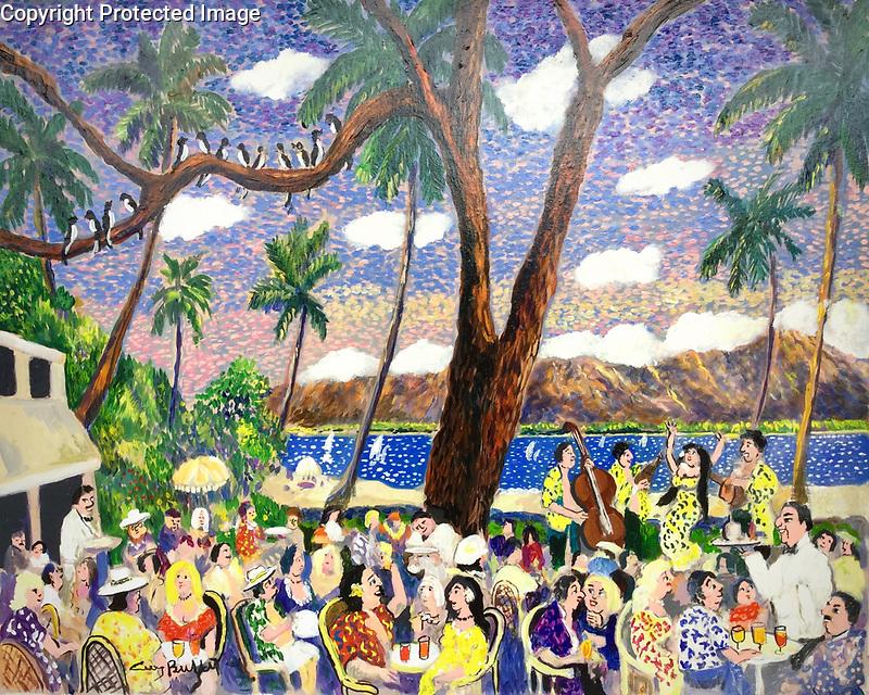 """Happy Hour in Waikiki""<br /> 32x26 Acrylic on Canvas<br /> $21,000"